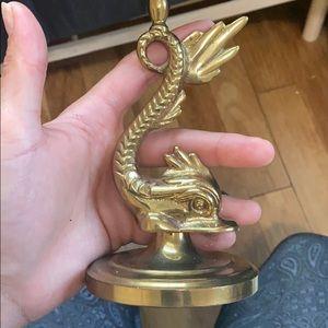 Vintage Accents - Antique Brass Koi Fish Candle Holders